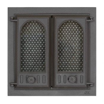 SVT 402 чугунная каминная 2-х створчатая  дверца с экраном