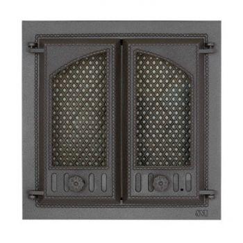 SVT 404 2-х створчатая чугунная каминная дверца с экраном
