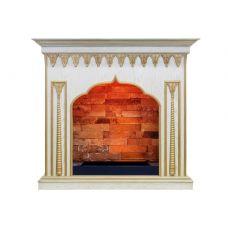 Каминокомплект Abu-Dabi - Белый дуб, патина золото с очагом Cassette 600 NH