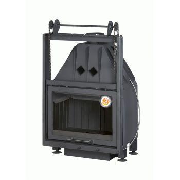 Каминная топка ЭКОКАМИН АЛЬФА 700 KВ с контргрузом черный шамот
